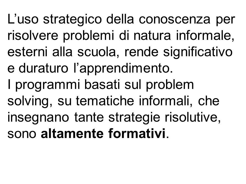 L'uso strategico della conoscenza per risolvere problemi di natura informale, esterni alla scuola, rende significativo e duraturo l'apprendimento.