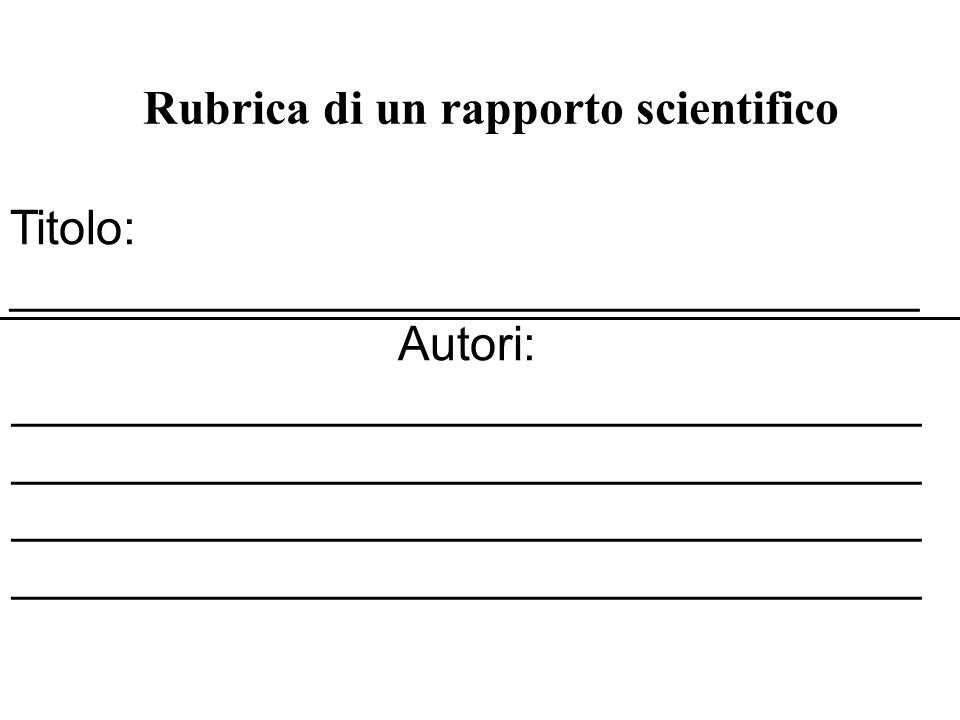Rubrica di un rapporto scientifico