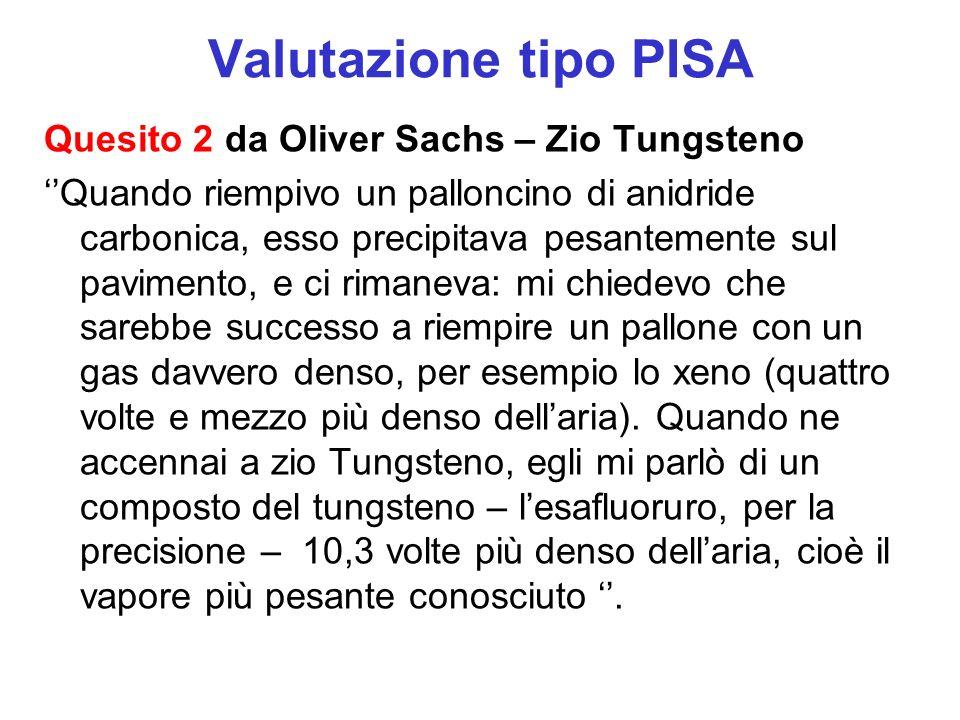 Valutazione tipo PISA Quesito 2 da Oliver Sachs – Zio Tungsteno