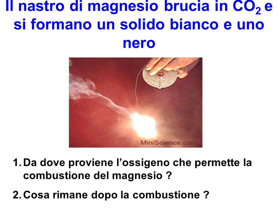 Il nastro di magnesio brucia in CO2 e si formano un solido bianco e uno nero