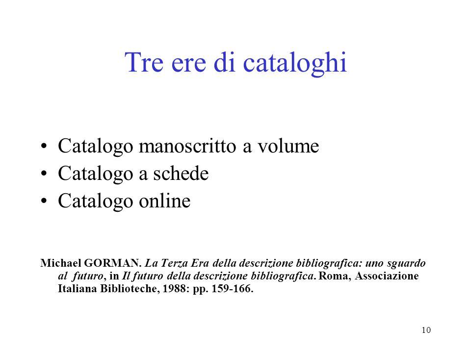 Tre ere di cataloghi Catalogo manoscritto a volume Catalogo a schede