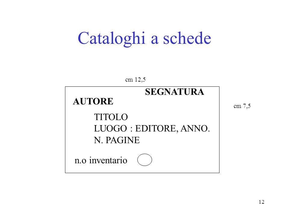 Cataloghi a schede SEGNATURA AUTORE TITOLO LUOGO : EDITORE, ANNO.
