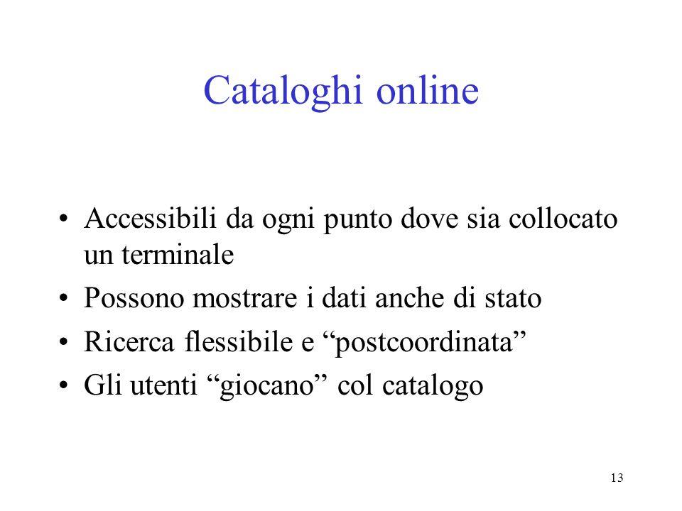 Cataloghi online Accessibili da ogni punto dove sia collocato un terminale. Possono mostrare i dati anche di stato.