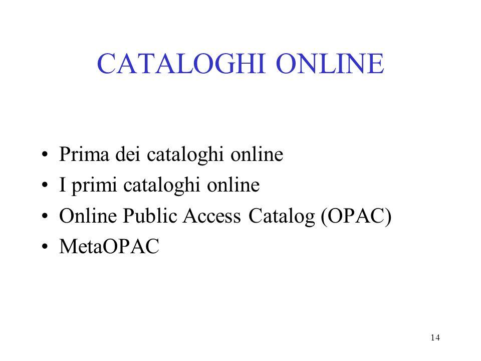CATALOGHI ONLINE Prima dei cataloghi online I primi cataloghi online