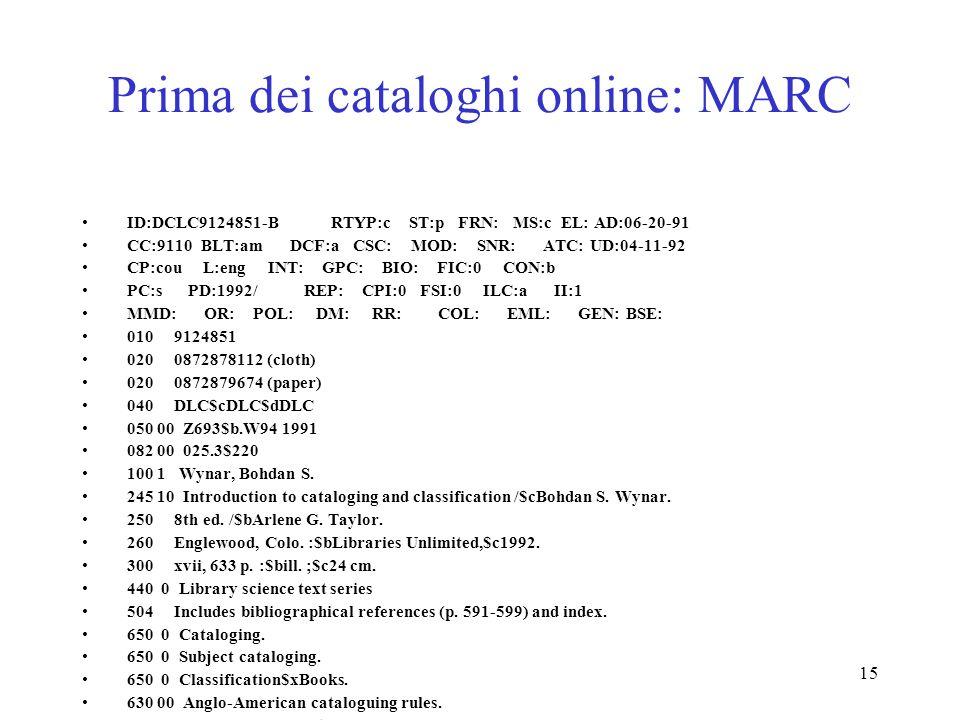 Prima dei cataloghi online: MARC