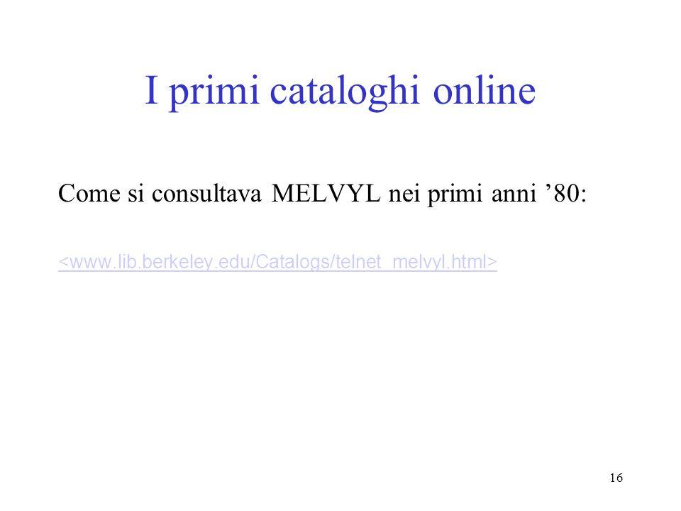 I primi cataloghi online