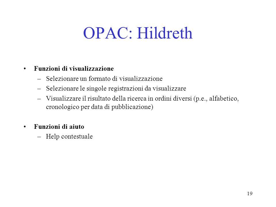 OPAC: Hildreth Funzioni di visualizzazione