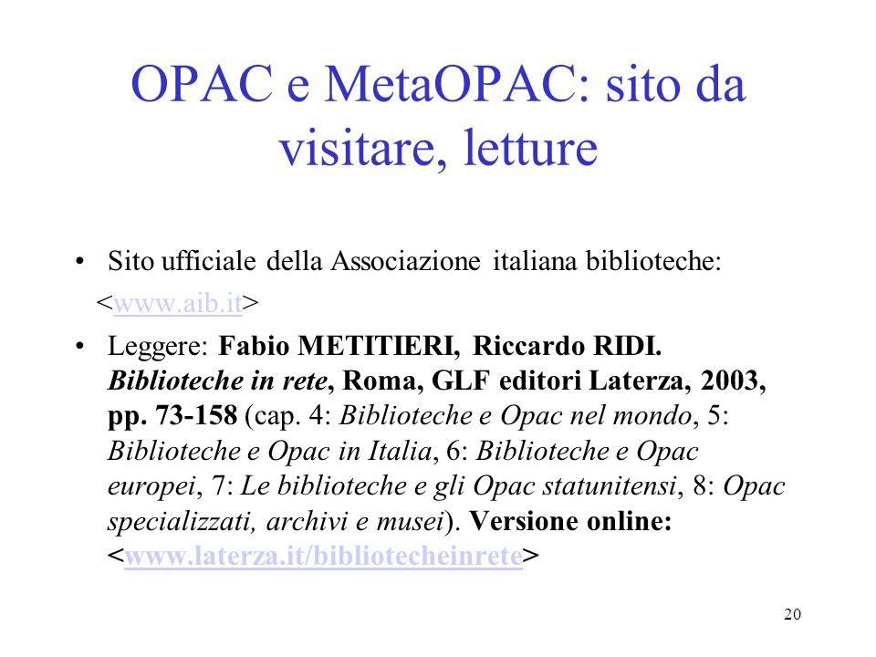 OPAC e MetaOPAC: sito da visitare, letture