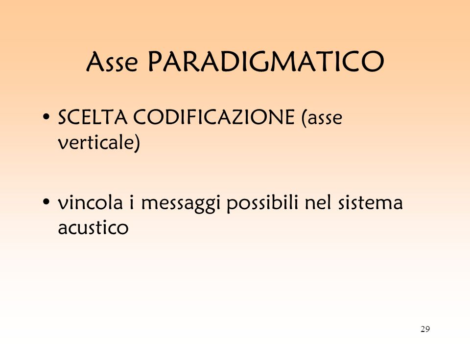Asse PARADIGMATICO SCELTA CODIFICAZIONE (asse verticale)