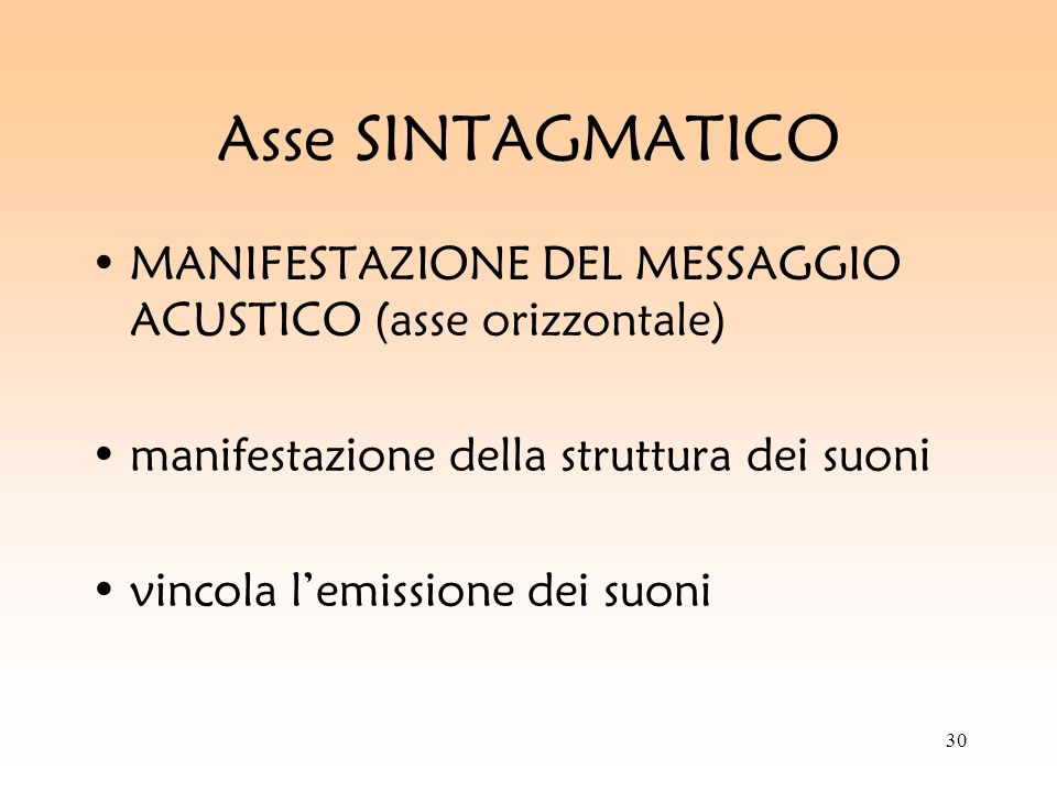 Asse SINTAGMATICO MANIFESTAZIONE DEL MESSAGGIO ACUSTICO (asse orizzontale) manifestazione della struttura dei suoni.