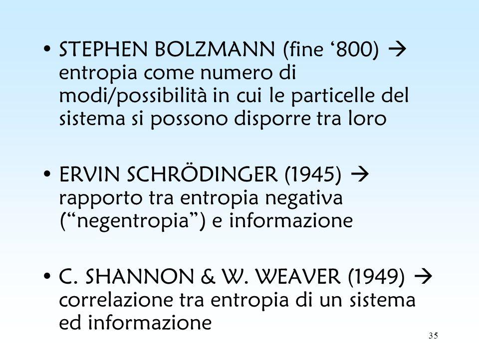 STEPHEN BOLZMANN (fine '800)  entropia come numero di modi/possibilità in cui le particelle del sistema si possono disporre tra loro
