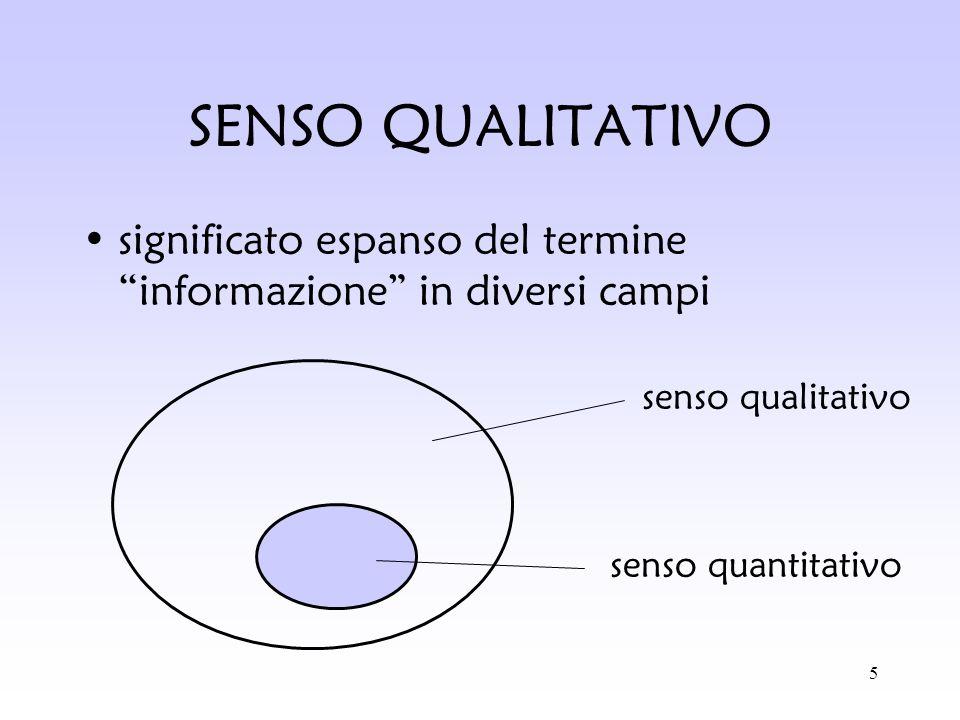 SENSO QUALITATIVO significato espanso del termine informazione in diversi campi. senso qualitativo.