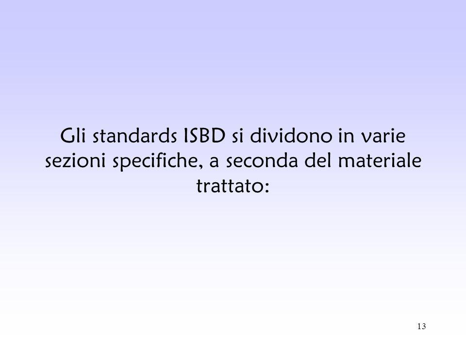 Gli standards ISBD si dividono in varie sezioni specifiche, a seconda del materiale trattato: