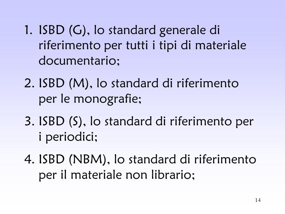ISBD (G), lo standard generale di riferimento per tutti i tipi di materiale documentario;
