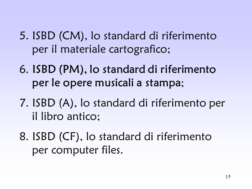 5. ISBD (CM), lo standard di riferimento per il materiale cartografico;