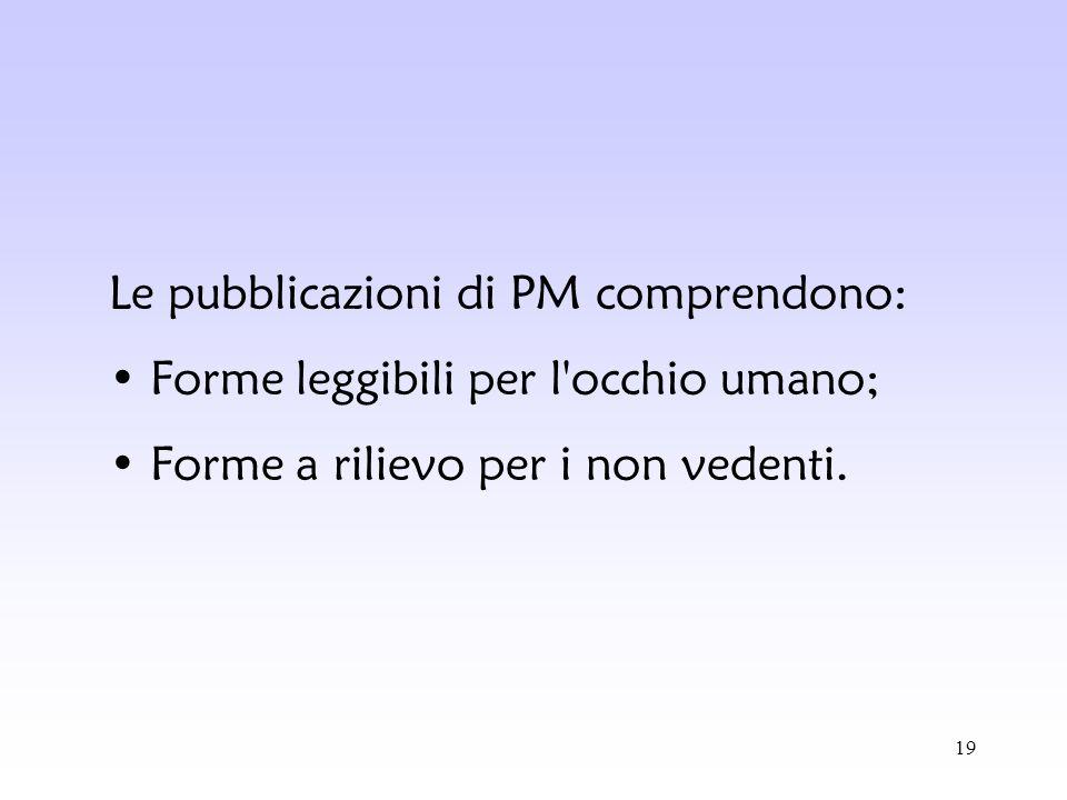Le pubblicazioni di PM comprendono: