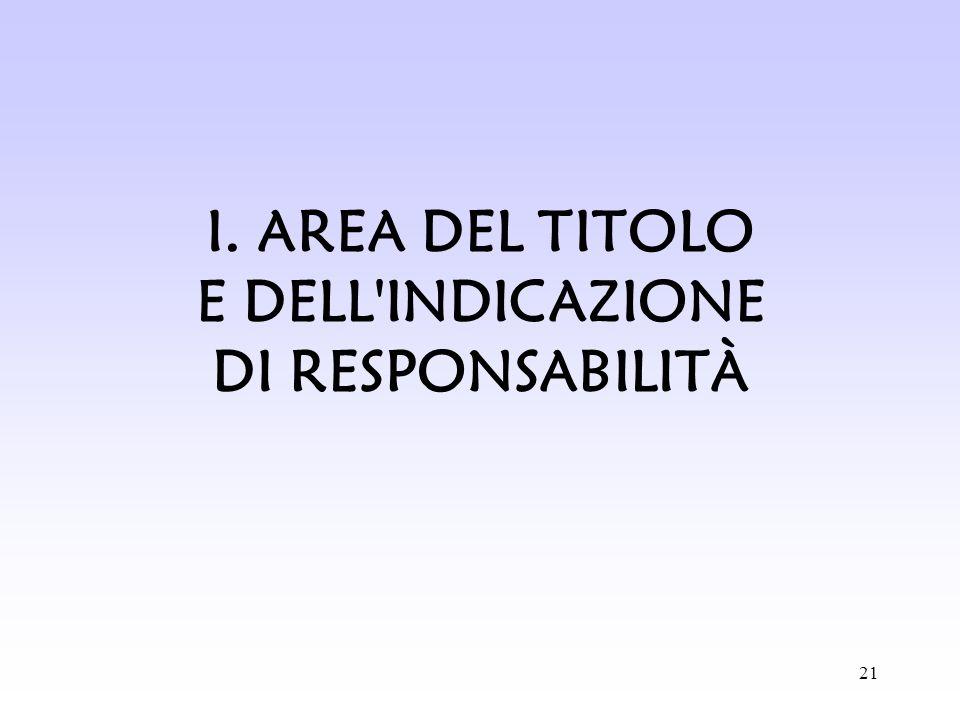 I. AREA DEL TITOLO E DELL INDICAZIONE DI RESPONSABILITÀ
