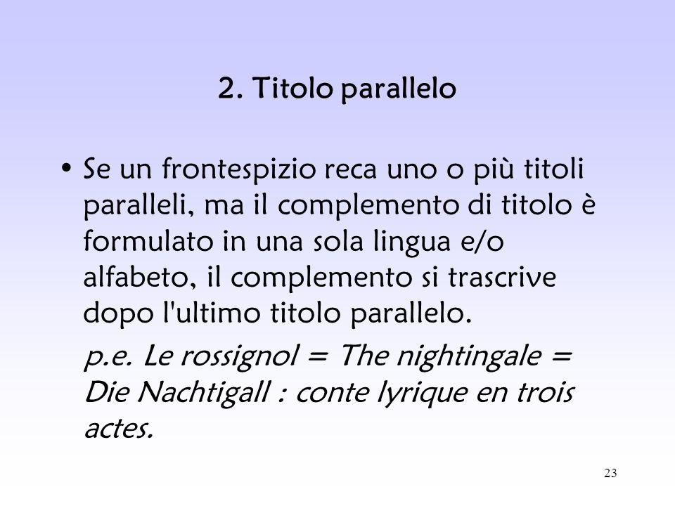 2. Titolo parallelo
