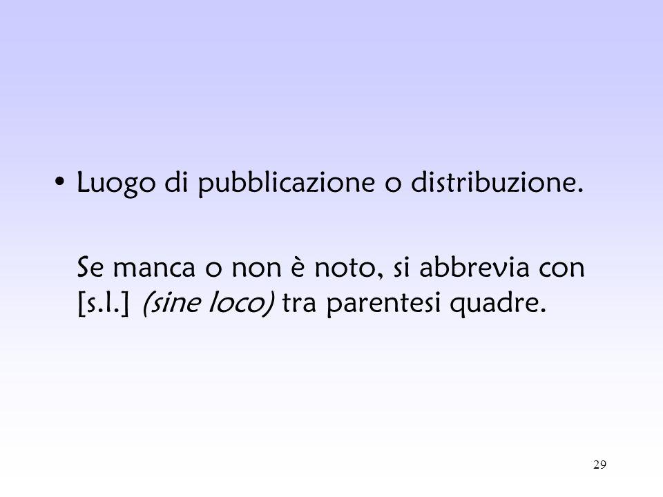 Luogo di pubblicazione o distribuzione.