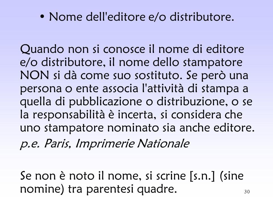 Nome dell editore e/o distributore.
