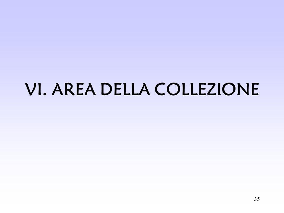 VI. AREA DELLA COLLEZIONE