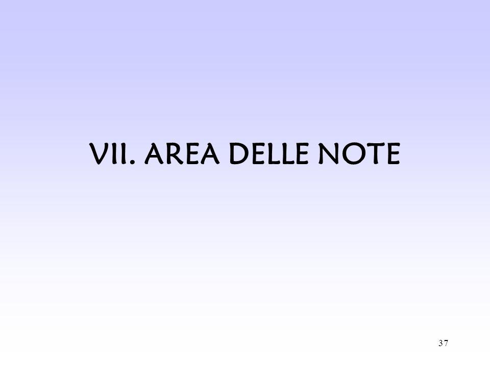 VII. AREA DELLE NOTE
