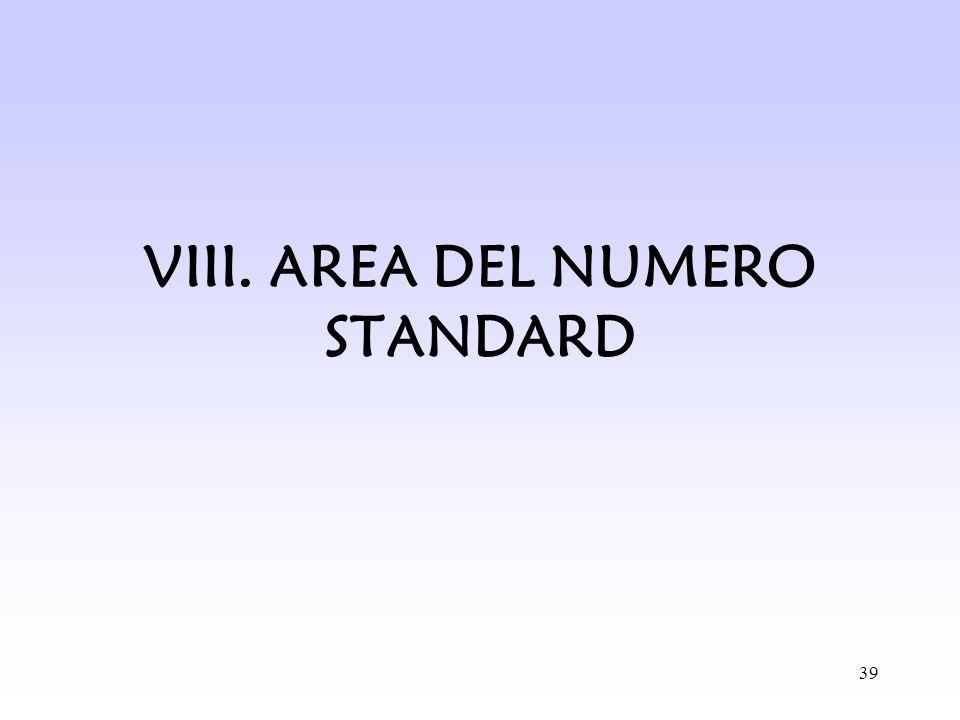 VIII. AREA DEL NUMERO STANDARD