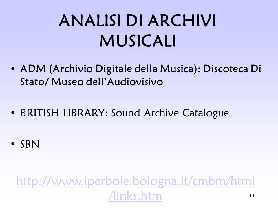 ANALISI DI ARCHIVI MUSICALI