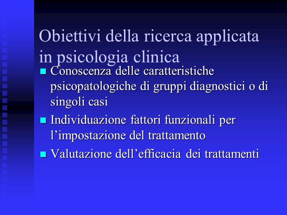 Obiettivi della ricerca applicata in psicologia clinica