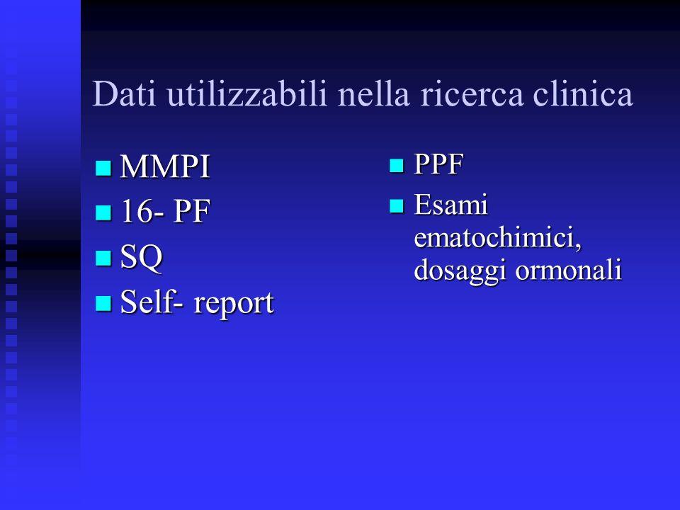 Dati utilizzabili nella ricerca clinica