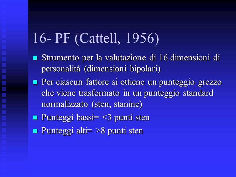 16- PF (Cattell, 1956) Strumento per la valutazione di 16 dimensioni di personalità (dimensioni bipolari)