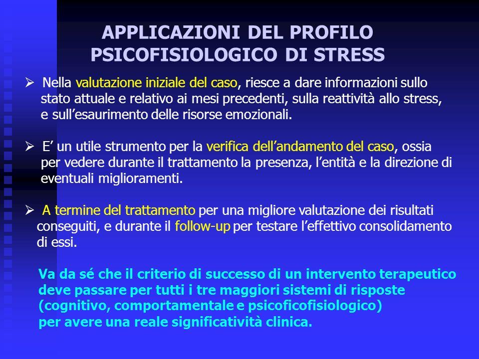 APPLICAZIONI DEL PROFILO PSICOFISIOLOGICO DI STRESS