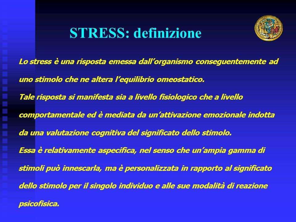 STRESS: definizione Lo stress è una risposta emessa dall'organismo conseguentemente ad uno stimolo che ne altera l'equilibrio omeostatico.