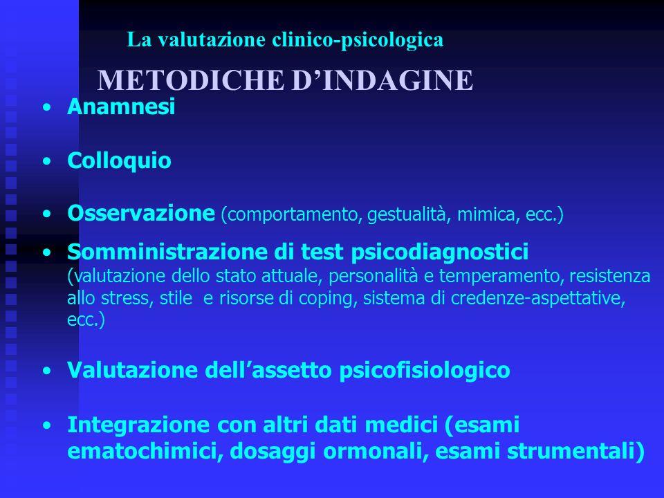 La valutazione clinico-psicologica METODICHE D'INDAGINE
