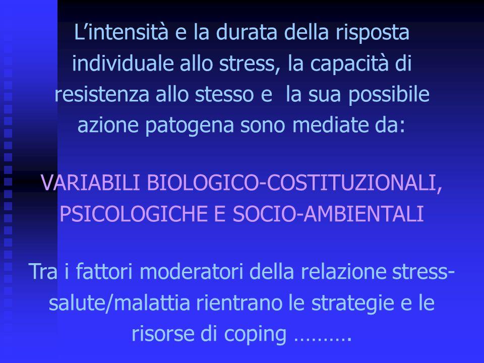 VARIABILI BIOLOGICO-COSTITUZIONALI, PSICOLOGICHE E SOCIO-AMBIENTALI