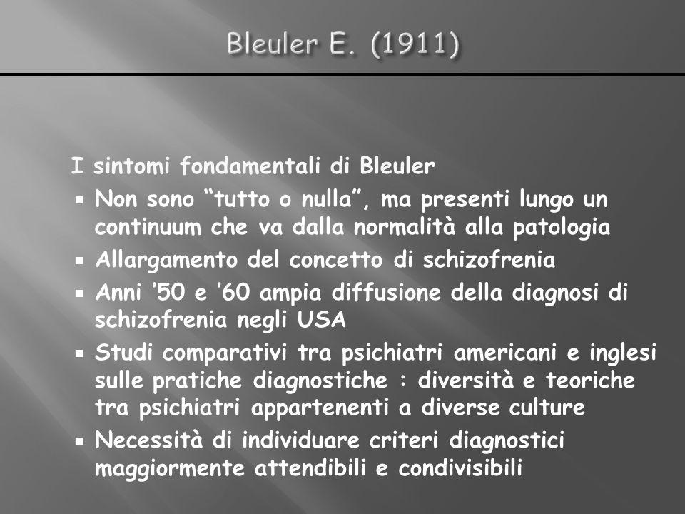 Bleuler E. (1911) I sintomi fondamentali di Bleuler