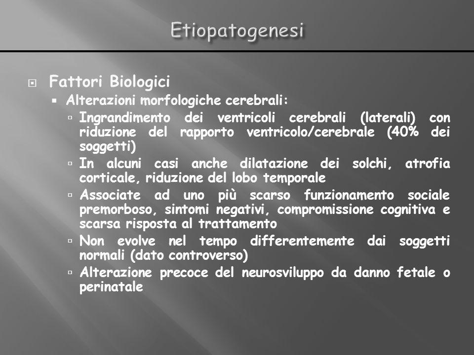 Etiopatogenesi Fattori Biologici Alterazioni morfologiche cerebrali: