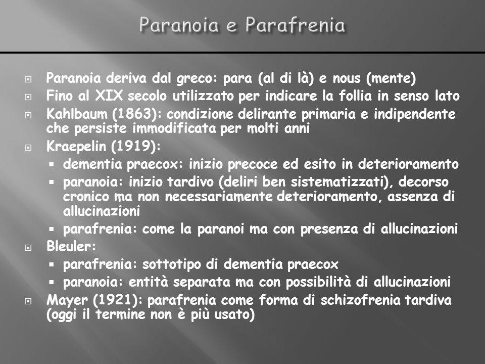 Paranoia e Parafrenia Paranoia deriva dal greco: para (al di là) e nous (mente) Fino al XIX secolo utilizzato per indicare la follia in senso lato.