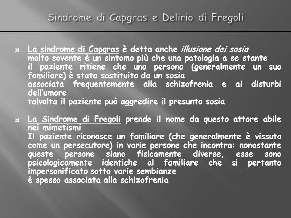 Sindrome di Capgras e Delirio di Fregoli