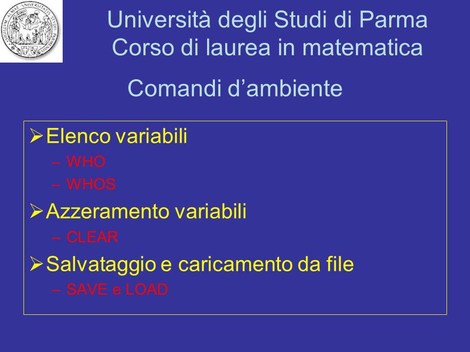 Comandi d'ambiente Elenco variabili Azzeramento variabili