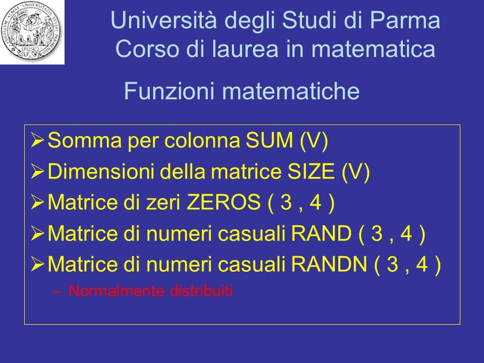 Funzioni matematiche Somma per colonna SUM (V)