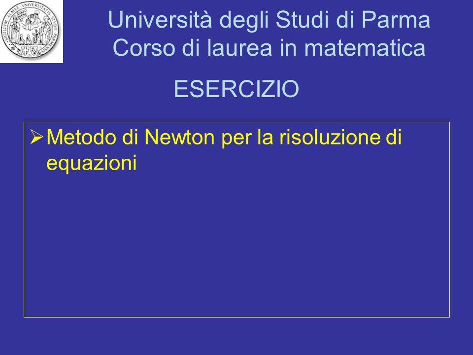 ESERCIZIO Metodo di Newton per la risoluzione di equazioni