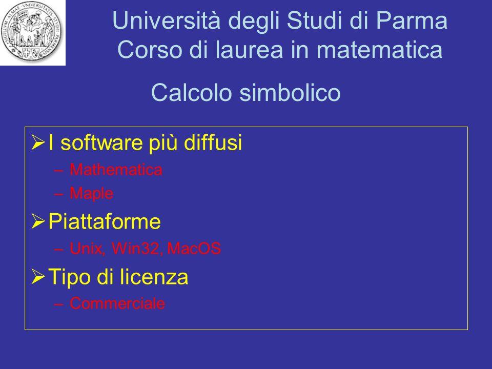 Calcolo simbolico I software più diffusi Piattaforme Tipo di licenza