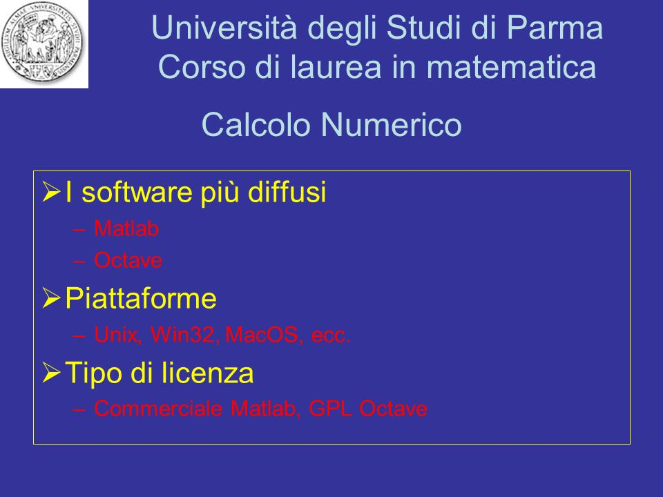 Calcolo Numerico I software più diffusi Piattaforme Tipo di licenza