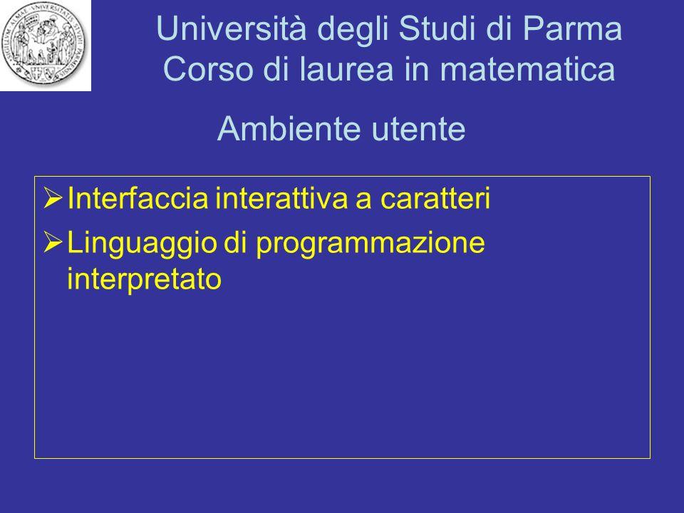 Ambiente utente Interfaccia interattiva a caratteri