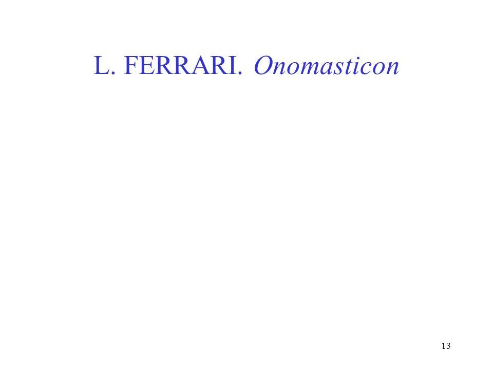 L. FERRARI. Onomasticon