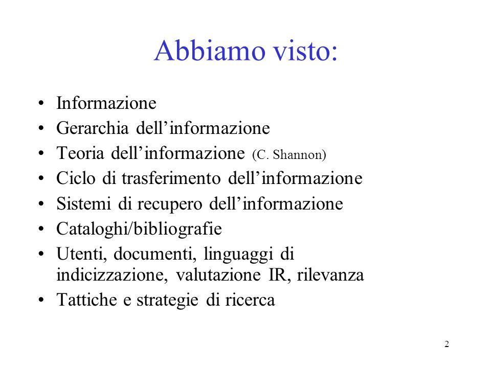 Abbiamo visto: Informazione Gerarchia dell'informazione