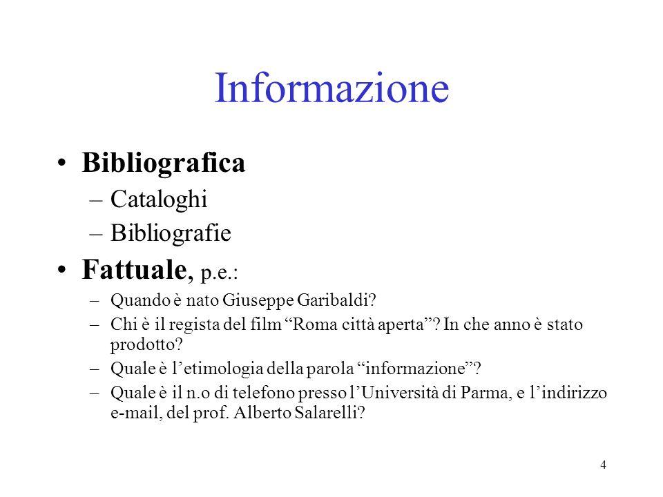 Informazione Bibliografica Fattuale, p.e.: Cataloghi Bibliografie