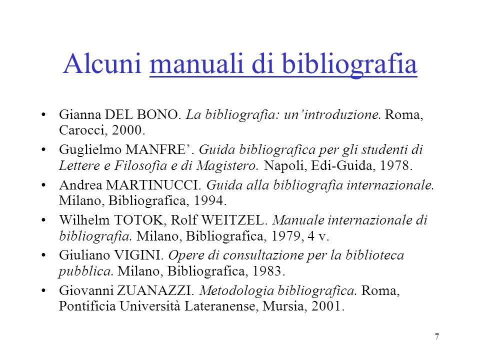 Alcuni manuali di bibliografia