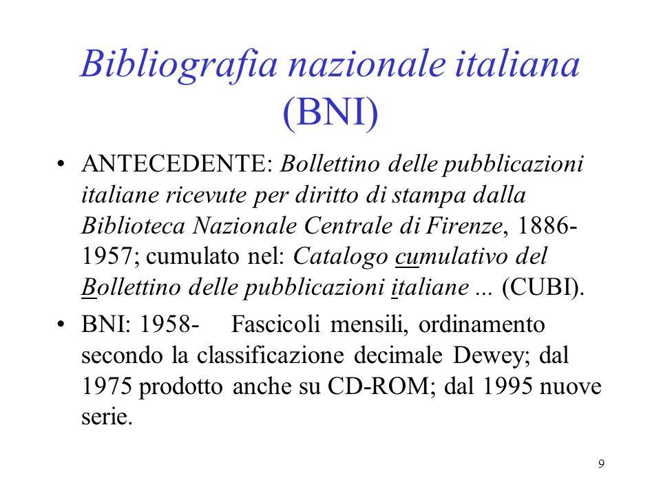 Bibliografia nazionale italiana (BNI)